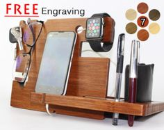 Christmas Gift  Custom Wooden Dock and Charging Station For iPhone 5, iPhone 6, Mobile, Wallet, Apple Watch, Accessories