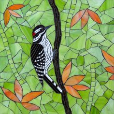 "Woodpecker  First of three birds in a series for a hospital in Minneapolis. 14""x14"""