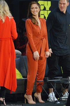 0a786acd1382 Minka Kelly looks vibrant in peach jumpsuit while promoting Titans