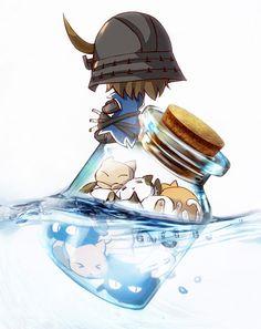Sengoku Basara, Date Masamune (Sengoku Basara), Helmet, Pixiv Bottle, Samurai Date Masamune, Sengoku Musou, Sengoku Basara, Anime Chibi, Manga Anime, Chibi Girl, Samurai Warrior, Kawaii, Bottle Art