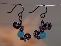 wire wrapped earrings purple blue glass and seed beads diy jewelry craft