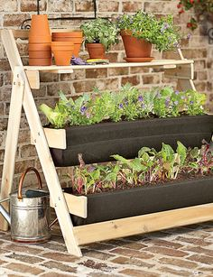 Grow Bag Terrace Kit   Cedar garden terrace for patio or deck