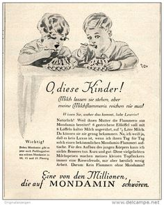 Original-Werbung/ Anzeige 1928 - MONDAMIN MILCHFLAMMERIS -  ca. 100 x 135 mm
