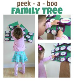 Peek-A-Boo Family Tree { great for toddlers!} This could easily be modified to include review of key people for history, multiplication facts, or for vocabulary words. Great way to help students review and a neat manipulative.