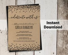 * Invitation for 21st, 30th, 40th, 50th, 60th, 70th, 80th, 90th, 100th Birthday, etc. - Printable Template * Welcome to Instant•Invitation! Included with your purchase is: 5x7 BIRTHDAY INVITATION - editable PDF with 2-on per page (If you need a different size or format, just let me