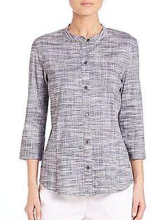 Theory Kalsentra Harbor Crunch Shirt - Navy White Combo - Size