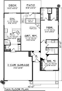 Ranch Style House Plan - 1 Beds 2 Baths 1587 Sq/Ft Plan #70-1026 Floor Plan - Main Floor Plan - Houseplans.com