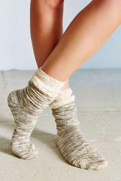 Crochet Cuff Slouchy Sockblack and grey
