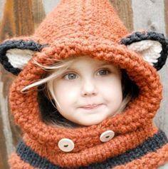 Шапка-шлем (снуд) лисичка для девочки