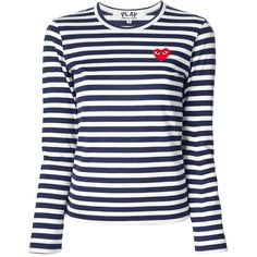Comme Des Garçons Play long sleeve striped T-shirt ($120) ❤ liked on Polyvore featuring tops, t-shirts, blue, stripe t shirt, long sleeve tops, blue striped t shirt, striped t shirt and pattern t shirt