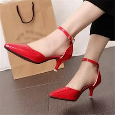 US $19.99 Pointed Toe Stiletto Mid Heels Ankle Strap Patent Leather Women Pumps Prom Shoes Classic Red