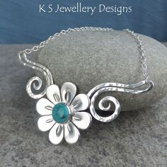 Turquoise Daisy Flower and Dappled Swirls Necklace - Gemstone Floral Jewellery £85.00