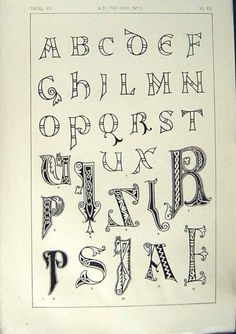 1860 Art Illuminating Calligraphy Alphabet Letters |