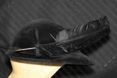 Vintage Black Cavalier Hat with Feather by Fleaosophy on Etsy, $75.00