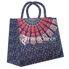 Blue and peach mandala print shopping bag Mandala Print, Handicraft, Shopping Bag, Reusable Tote Bags, Peach, Handbags, Boho, Prints, Stuff To Buy