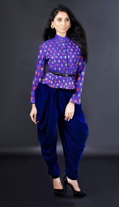 Dare to Dhoti  No longer just for men, Dhoti is the new inspiration for skirts and pants. Wear Dhoti style pants, pairing them with crop tops to keep it firmly in the 21st century. Experiment with Red metal jewel dhoti pants by Anaikka or Dhoti Skirt by Masaba.