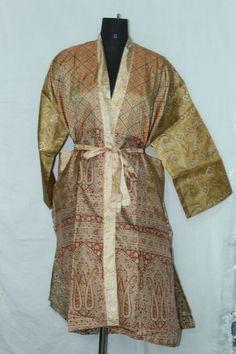 Woman's Jacket Patchwork Bathrobe Dress Vintage Indian Silk Sari Kimono Sk-1051 #Handmade #Kimono #AnyOccasionCasual