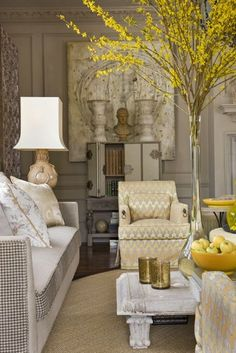 Classic, contemporary and a bit of Asian and Morocco artfully blended light Barry Dixon design. My Living Room, Living Area, Living Room Decor, Living Spaces, Lounge, Mellow Yellow, Grey Yellow, Gray, Design Case