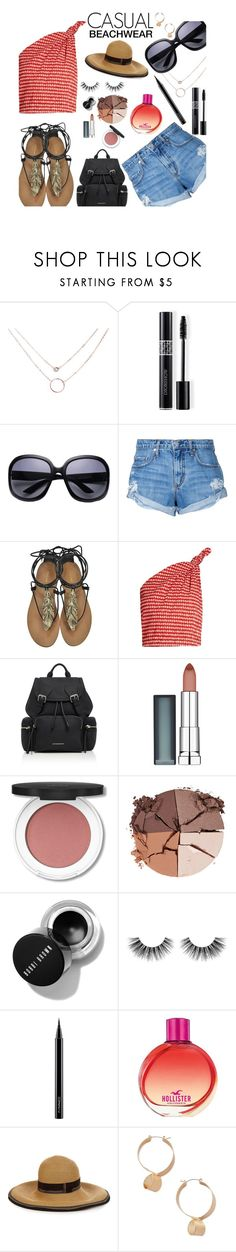 """""""Casual Beachwear"""" by espritducoeur ❤ liked on Polyvore featuring Christian Dior, Nobody Denim, Roberto Cavalli, Rosie Assoulin, Burberry, Maybelline, lilah b., Velour Lashes, MAC Cosmetics and Hollister Co."""