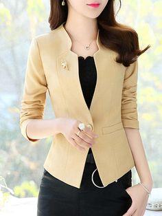 #Fashionmia - #Fashionmia Chic Single Button Plain Collarless Blazer - AdoreWe.com