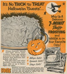 1954 Halloween Fluffy Frosting Ad. #vintage #Halloween #1950s #food #cake #ads