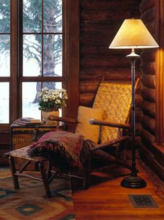 I would spend a lot of time in this cozy corner gazing out the window. Cozy Nook, Cozy Corner, Cozy Cabin, Winter Cabin, Cozy Winter, Cosy, Cabin Homes, Log Homes, Old Hickory Furniture