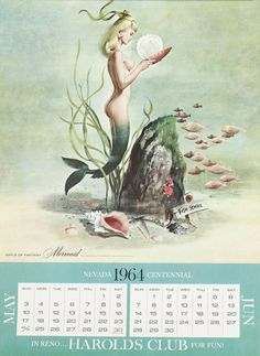 Mermaid goes to school. Calendar art by Ren Wicks,1964