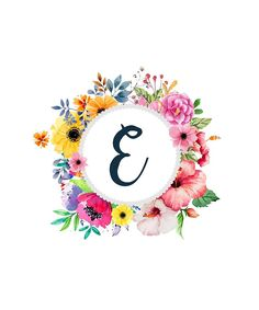 Monogram E Colorful Floral Wreath by floralmonogram Flower Letters, Monogram Letters, E Letter Design, Ariana Grande Wallpaper, Creative Instagram Stories, Art Clipart, Baby Scrapbook, Lettering Design, Floral Watercolor