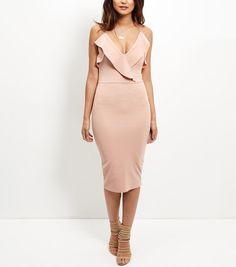 Cameo Rose Shell Pink Frill Wrap Midi Dress | New Look