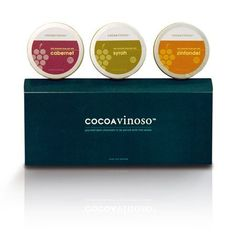 A delicious collection of premium dark chocolates, packaged in elegant five-ounce round tins, the CocoaVinoso Three-Tin Gift Set is an enticing surprise for the sophisticated connoisseur of gourmet wine and chocolate. #gourmetgifts