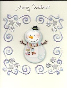 Christmas snowflakes with snowman by HandmadeCardsByAnita on Etsy