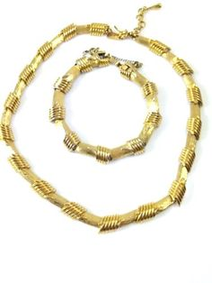 """Monet Demi Parure - Gold Tone Brushed Metal and Ribbed Hinged Links 15"""" Necklace"""