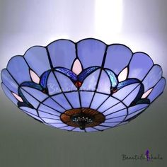 Two-light 12 Inch Flush Mount Ceiling Light  in Tiffany Stained Glass Style - Beautifulhalo.com