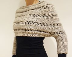 Knitting Pattern - London Mist Cropped Sweater/ Poncho/ Chunky Knit Shrug