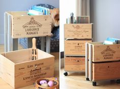 DIY rolling drawers with casters! Diy Kids Furniture, Crate Furniture, Wooden Wine Crates, Palette Diy, Diy Inspiration, Home Decor Hacks, Recycled Crafts, Diy Craft Projects, Diy For Kids