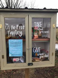 Project Gallery 2 — Little Free Pantry Little Free Libraries, Little Library, Homeless Care Package, Little Free Pantry, Tiny Pantry, Street Library, Blessing Bags, Bronze Award, Recycled Art Projects