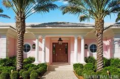 Interior designer, Robin Weiss decided to use pink and a bright colors for her Palm Beach vacation home. Let's take a tour of this bright a. Beach Cottage Style, Coastal Cottage, Coastal Homes, Coastal Decor, Beach Homes, Coastal Living, Coastal Curtains, Coastal Entryway, Coastal Rugs
