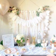 Gorgeous all white boho swan party