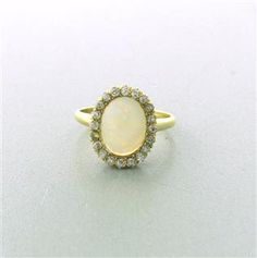 Victorian Antique 1880s 14K Gold Opal Diamond Ring