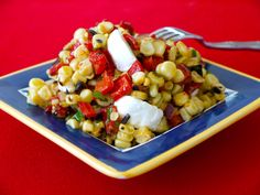 Grilled Corn  Red Pepper Salad on Weelicious