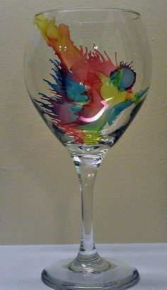 Alcohol Ink- Look into DIY. Thought I saw a DIY with alcohol ink on glass somewhere on the interweb. is creative inspiration for us. Get more photo about home decor related with by looking at [. Alcohol Ink Glass, Alcohol Ink Crafts, Alcohol Ink Painting, Alcohol Ink Jewelry, Alcohol Gifts, Wine Glass Crafts, Wine Bottle Crafts, Wine Bottles, Bottle Art