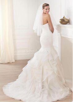 Robe de mariée avec manches traîne mi-longue longueur ras du sol de col en cœur naturel - photo 2