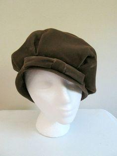 6252fbd7af021 Velvet Muffin Cloche Hat Oversized Beret Hat Taupe Vintage 1940s