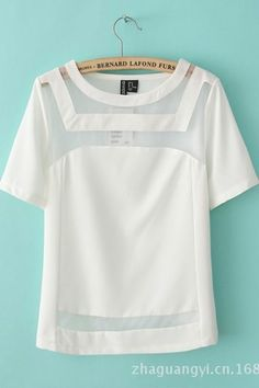 white chiffon short sleeves t-shirt