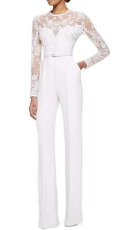 2015 White Elie Saab Mother Of The Bride Pant Suits Jumpsuit With Long Sleeves Lace Embellished Womens Formal Dresses Evening Wear #womenpantssuits
