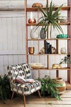 Flutura Occasional Chair shelves as a room divider. Room Divider Shelves, Glass Room Divider, Wooden Room Dividers, Hanging Room Dividers, Sliding Room Dividers, Shelving Decor, Divider Cabinet, Modern Shelving, Home Interior