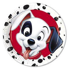 Unique Party 71380 – Disney 101 Dalmatians Party Plates, Pack of 8 Party Napkins, Party Plates, Party Cups, Party Drinks, Party Snacks, Dinner Plates, Disney Dogs, Walt Disney, Tea Party Decorations
