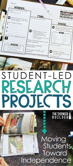 Student Led Research Projects: Moving Students Toward Independence Using an inquiry approach to student research is a great way for students to design and lead their own projects. This Wonder, Find, Share organizer helps keep them on track! (The Thinker B Teaching Strategies, Teaching Writing, Teaching Science, Teaching Gifted Students, Teaching Ideas, Science Inquiry, Science Experiments, Teaching Spanish, Marketing Strategies
