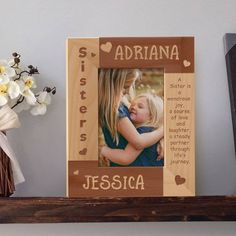 Sisters Picture Frame, Personalized Picture Frames 4x6, Wooden Picture Frames 5x7, Sister Gift Ideas by MarketingHills on Etsy Sister Picture Frames, Wooden Picture Frames, Personalized Picture Frames, Personalized Wine, Keepsake Baby Gifts, Sister Pictures, Year Anniversary Gifts, Perfect Gift For Her, Christening Gifts
