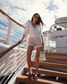White and beige printed fringed romer+brown knot slide sandals+transparent handbag+sunglasses. Summer Casual/ Vacation Outfit 2018 summer Disney Cruise Line: Eastern Caribbean 2018 Cancun Outfits, Summer Cruise Outfits, Cruise Wear, Cruise Travel, Vacation Outfits, Cruise Vacation, Vacation Trips, Cruise Attire, Shopping Travel